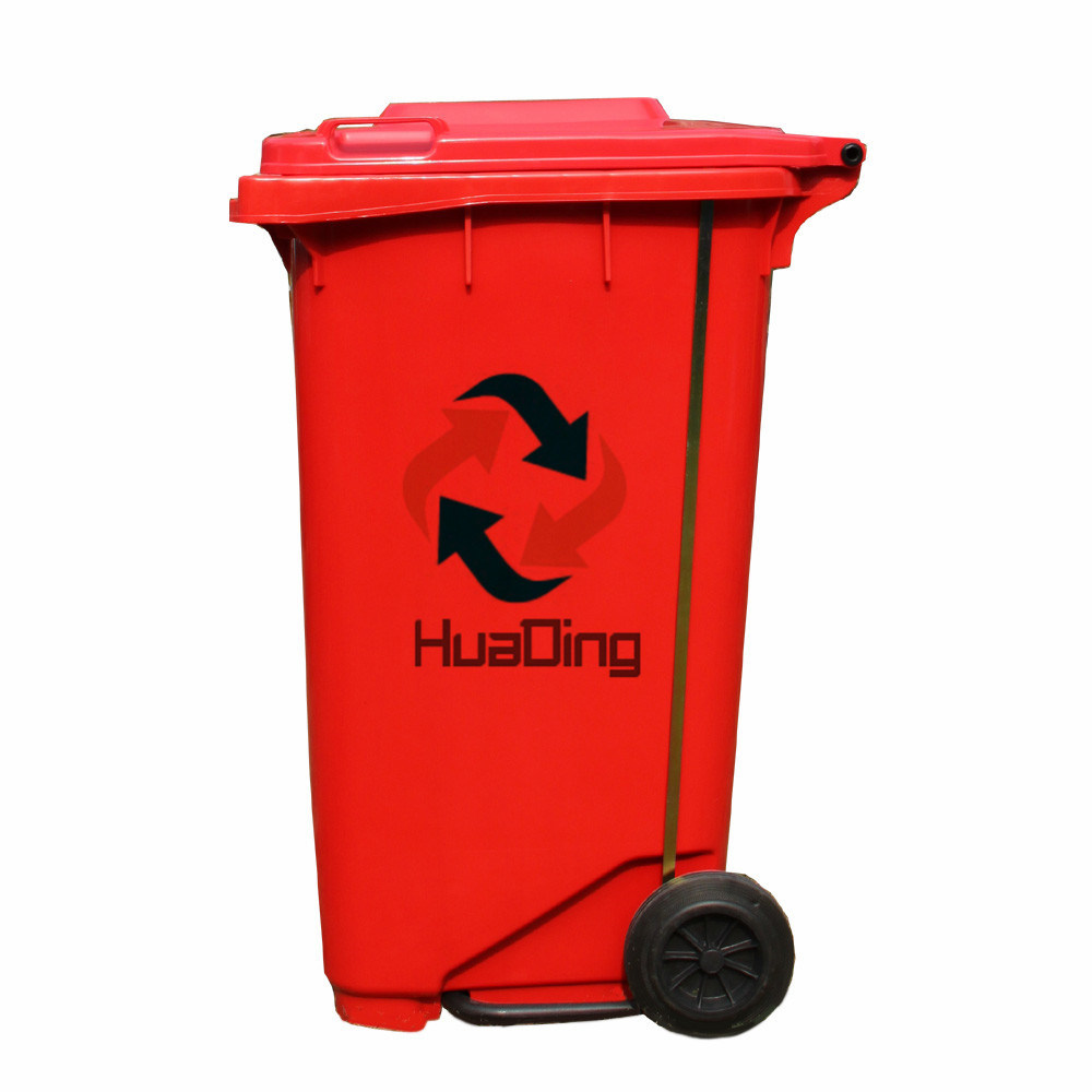 Plastic Garbage Bin Rubber Wheel Trash Can for Outdoor