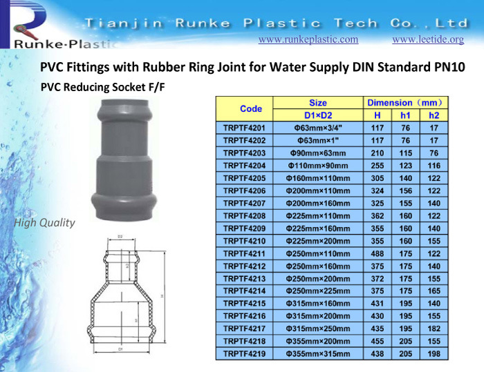 PVC Pipe Fittings Rubber Joint for Water Supply DIN Standard
