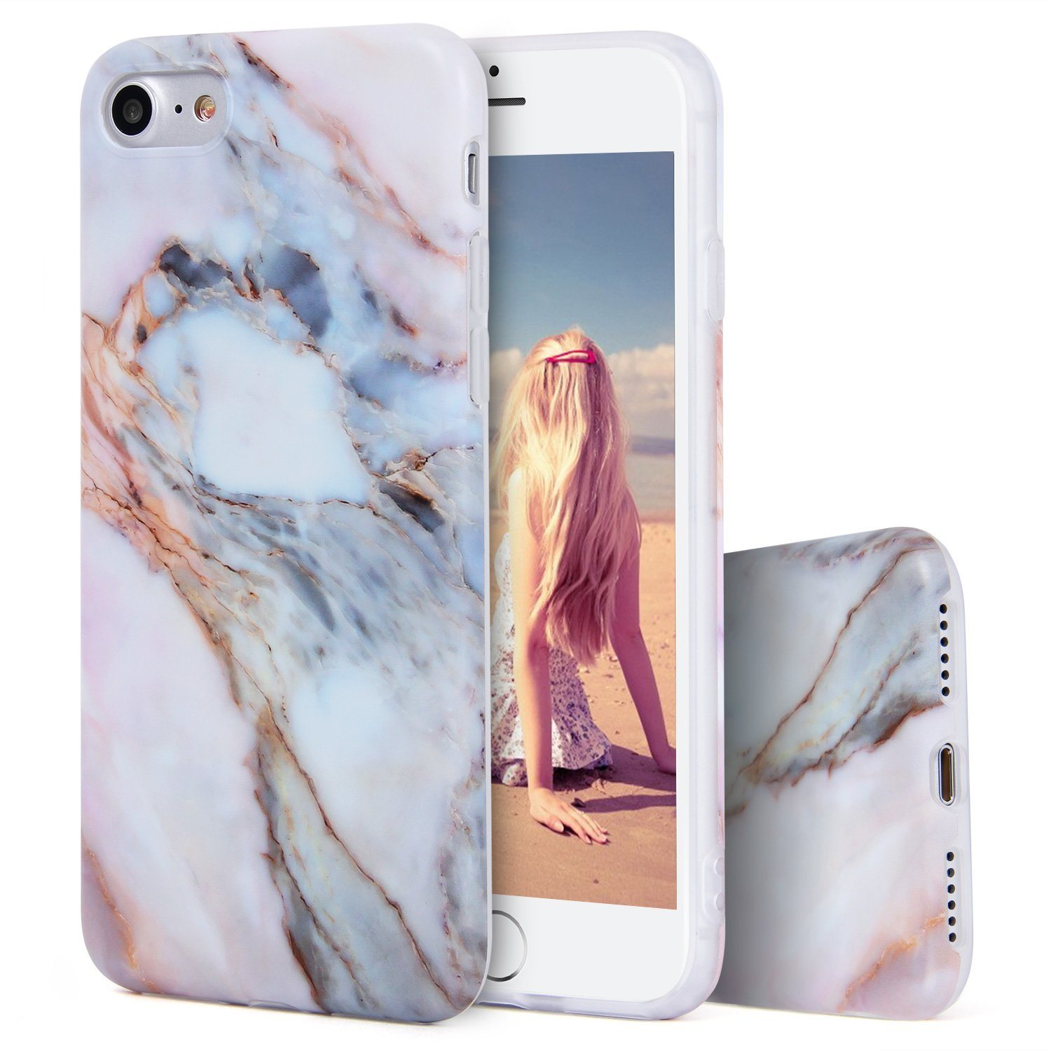 C&T White Marble Pattern Slim Fit Snap on Hard Shell Back Cover Case for iPhone 7