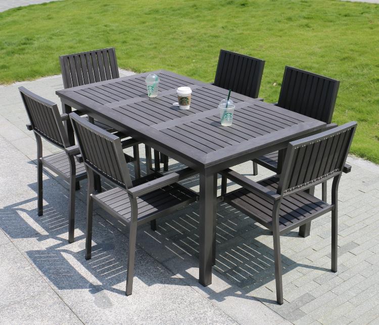 Aluminum Plastic Wood Chair Table Outdoor Patio Furniture (J803)