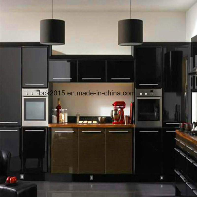 MDF High Glossy Black and Brown Colour Painted Kitchen Cabinets with Island Cabinet
