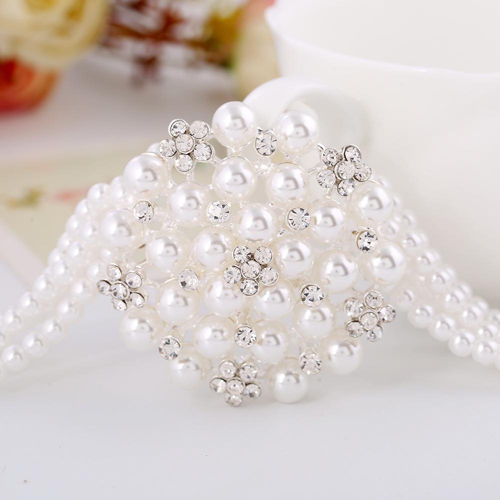 Fashion Diamond Pearl Flower Choker Necklace Earring 2 PCS Set Jewelry