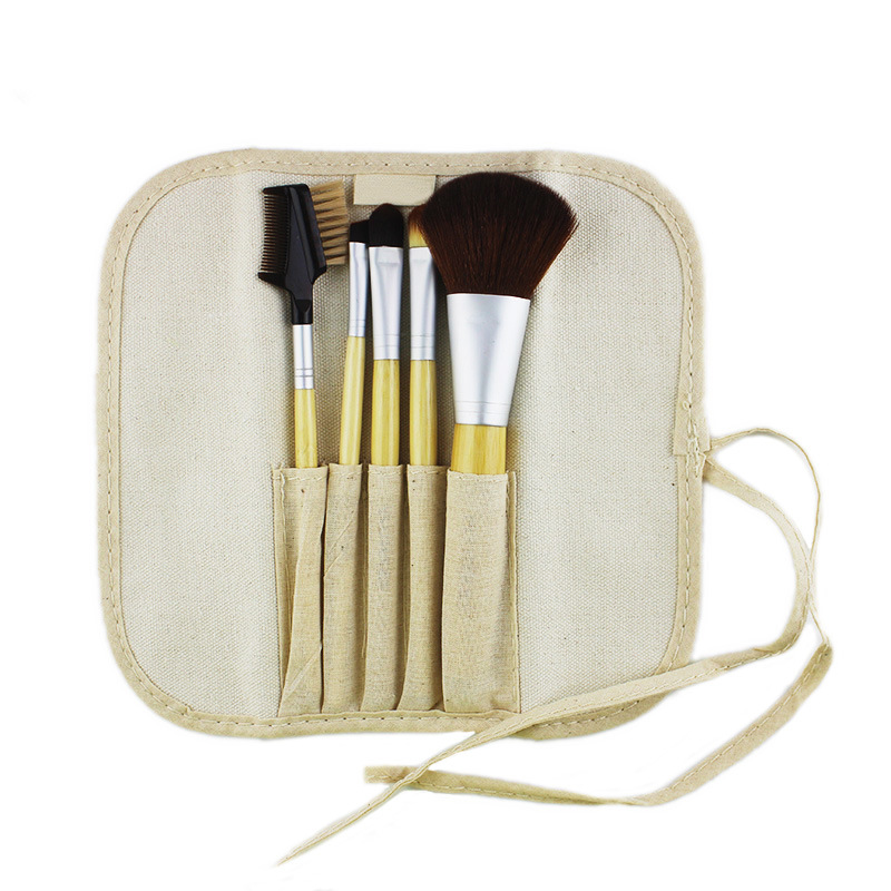 5PCS Portable Travel Bamboo Makeup Brush Set Cosmetics Manufacturer