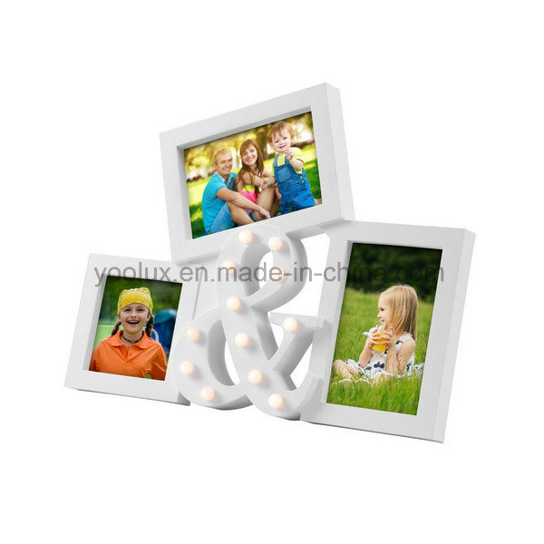 LED Plastic Multi Openning Promotion Decoration Gift Collage Photo Frame
