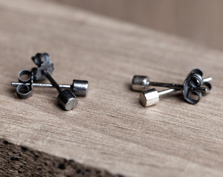 925 Sterling Silver Black Color Mini Stud Earrings Geomtric Design