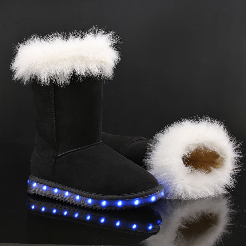 New Fashion Lady Shoe LED Light Shoe USB Charging Shoe Warm Winter Snow Boot