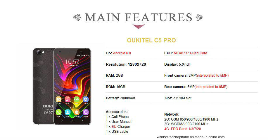 "4G FDD Android Smart Phone Oukitel C5 PRO 5.0"" Smartphone"