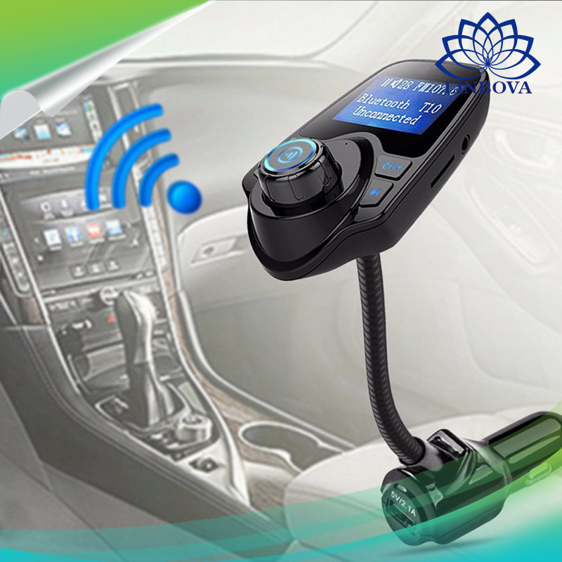 Wireless Audio Player Car Bluetooth Handsfree FM Transmitter Car Kit with LCD Display and USB Charging Port