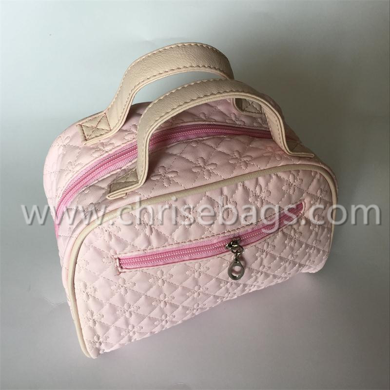 Pink PU Fashion Cosmetic Bag