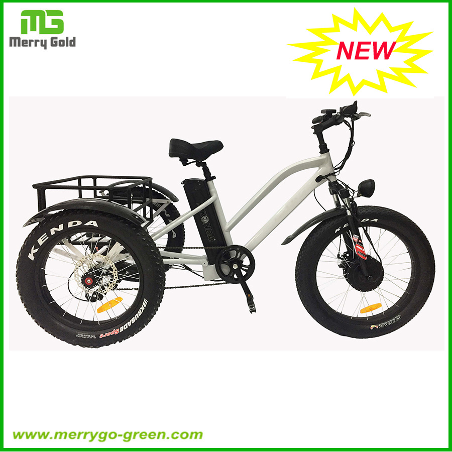 24inch 48V 500W Fat Tire 3 Wheel Electric Cargo Tricycle