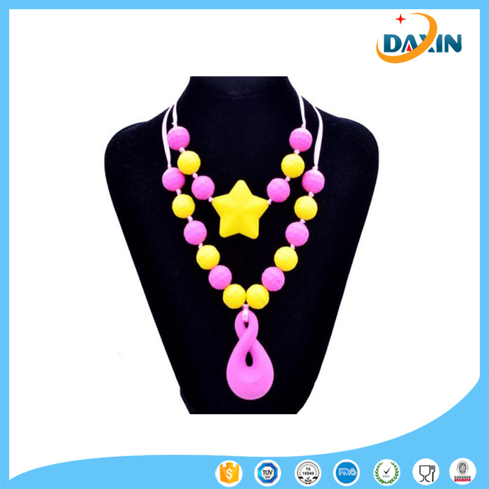 Teething Silicone Round Beads Necklace for Baby