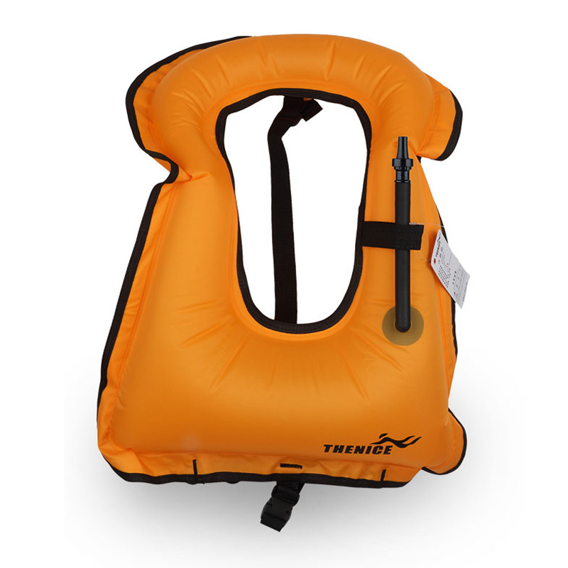 Adult Portable Canvas Life Jacket Snorkel Vest Inflatable