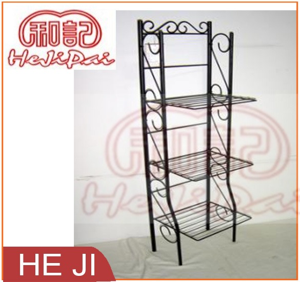Powder Coating Black Foldable Wire Shelf with Three Tiers
