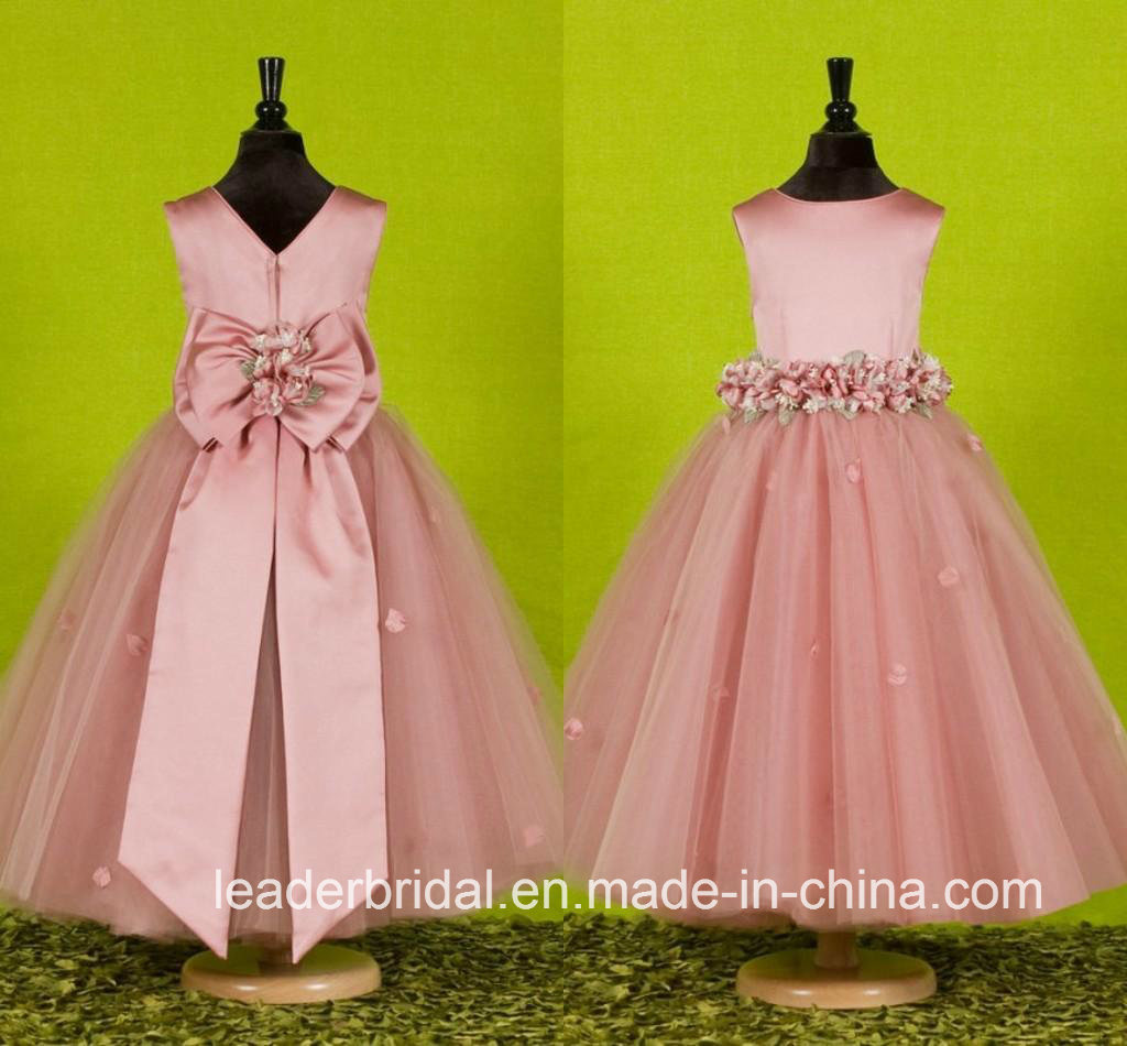 Sleeveless Girls Party Gowns Tulle Flowers Flower Girl Dress FL2154