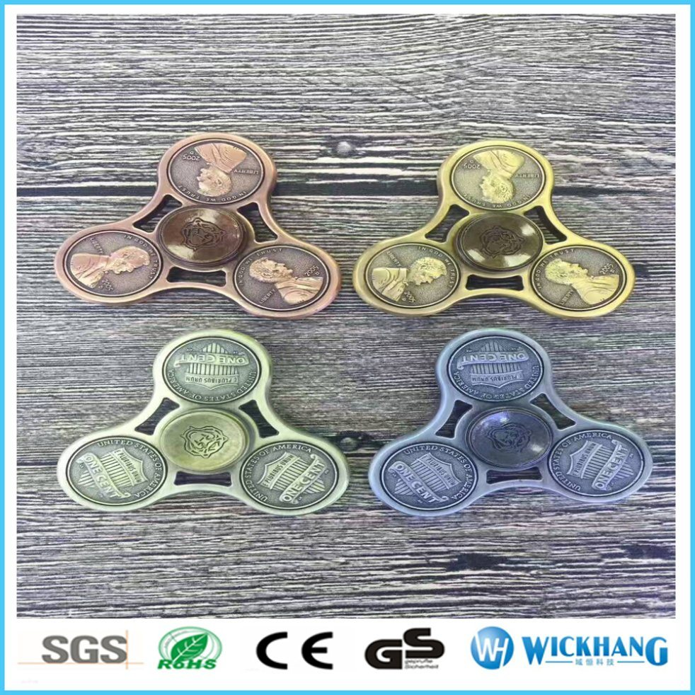 5 Cents Hand Tri Fidget Spinner Toy Coin Collection Style Alloy Stress Reducer