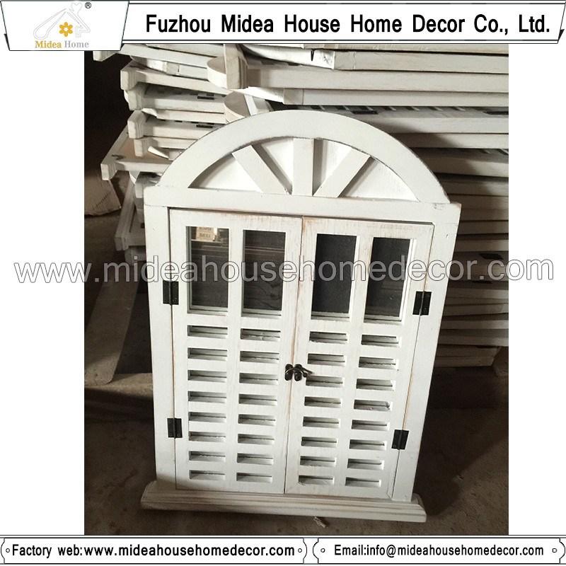 Antique Vintage White Handmade Decorative Wooden Window Shutter Mirror