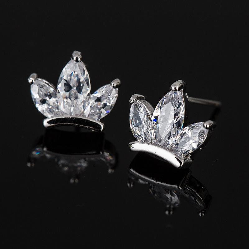 Fashion Imitation Earrings-Cubic Zircon Crystal Stud Ear Jewelry