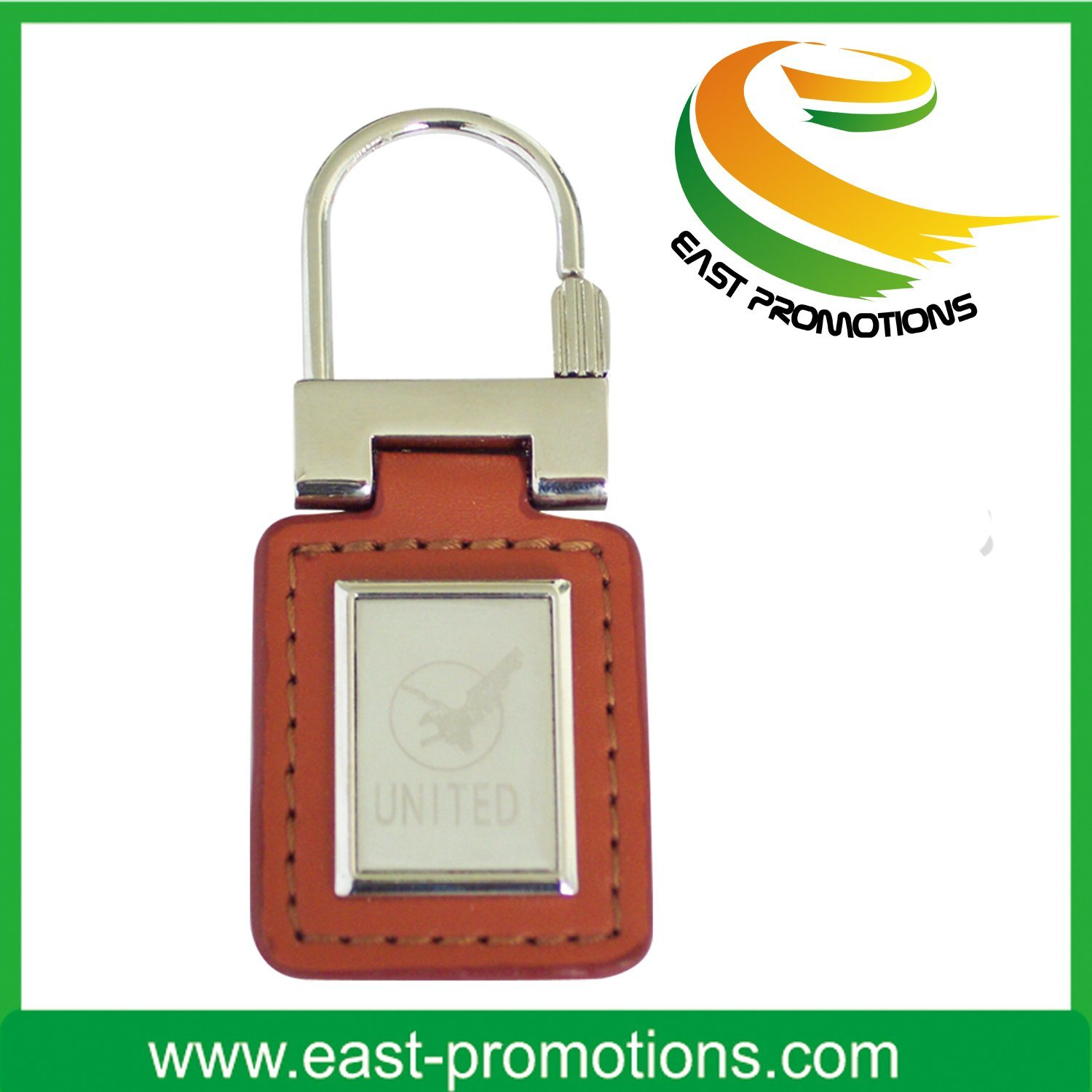 Promotion Gift Metal Leather Keychain with Stamp Logo
