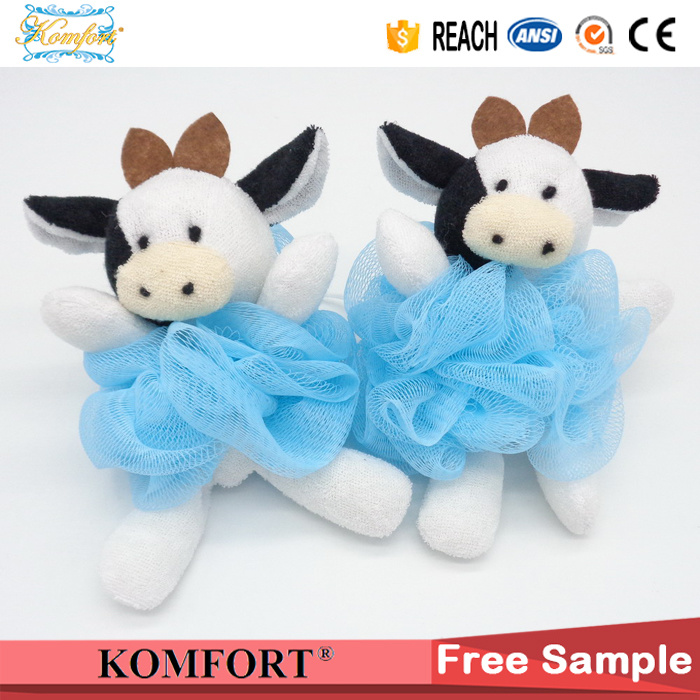 Klb-103 Shower Puff Wholesale Cow Toy Bath Sponge PE Mesh Bath Ball