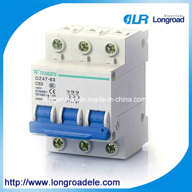 Dz47-63 Series 3p Electrical MCB/Miniature Circuit Breaker