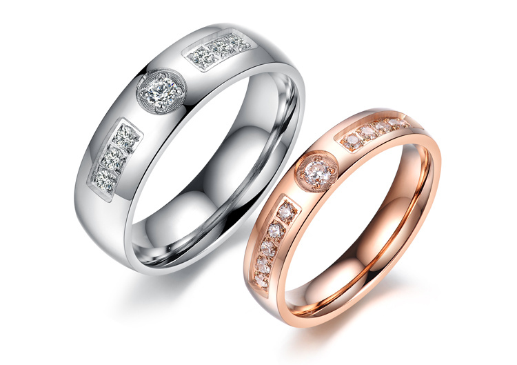 Fashion Rhinestone Diamond Men Women Lover Couple Rings Stainless Steel Jewelry