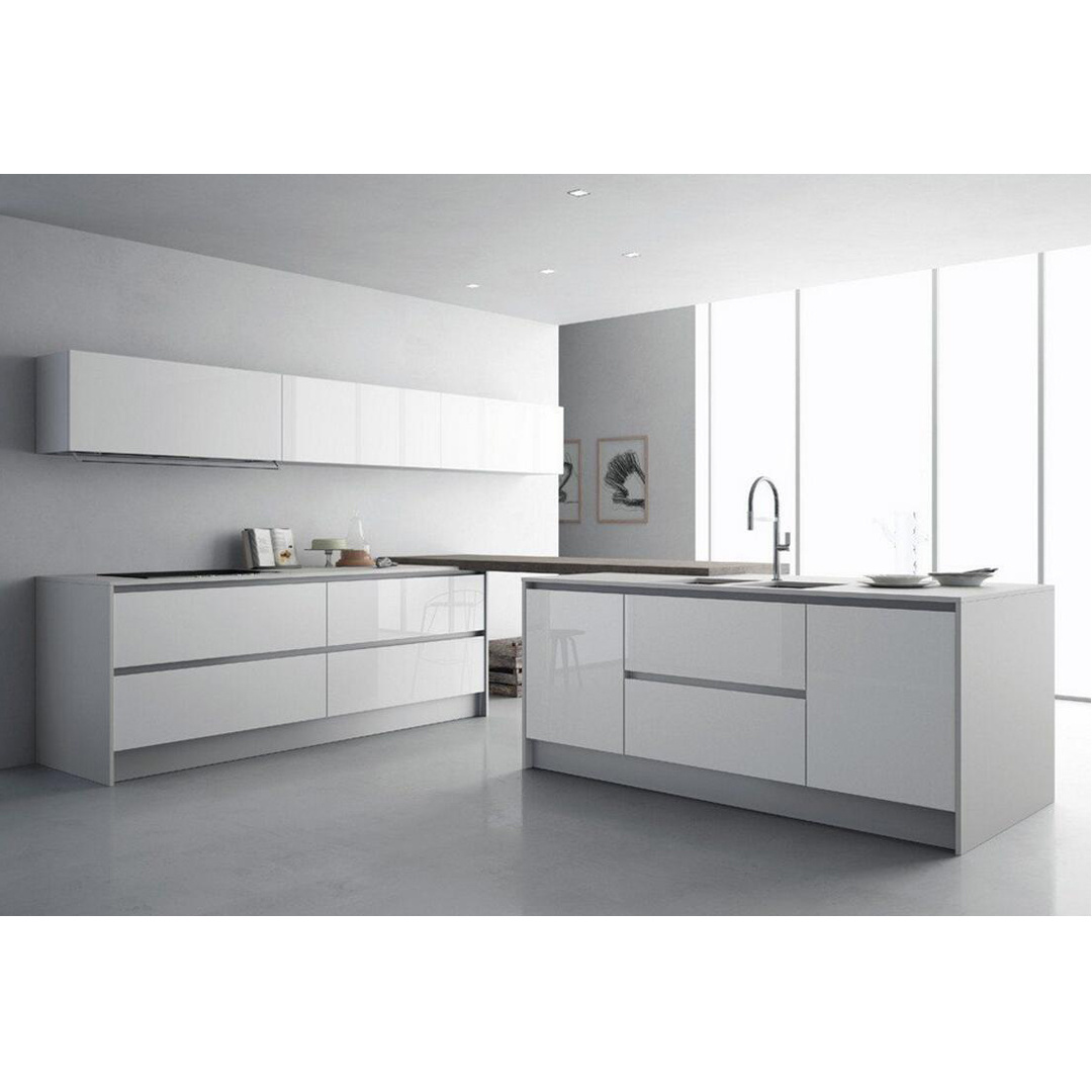 Customized Modern White Lacquer Linear Plywood Kitchen Cabinets