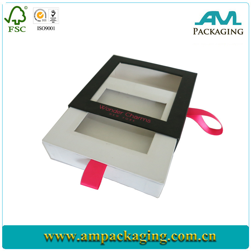 Customized Drawer and Hard Shell Style Glitter Black Jewellery Box with Silver Logo