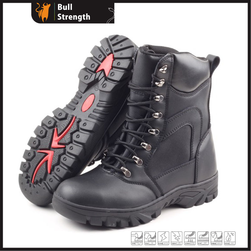 Black Leather Rubber Outsole Military Army Combat Boots Sn5132
