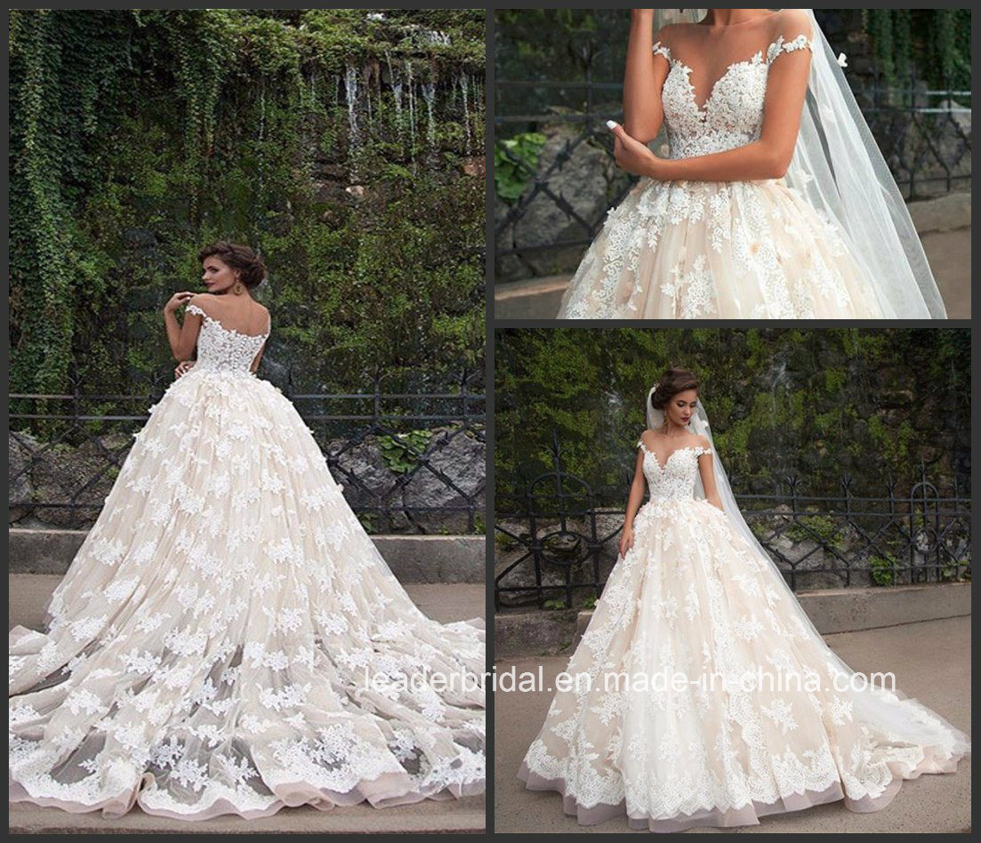 Sheer Lace Bridal Ball Gowns off Shoulder Champagne Lining Wedding Gown 2017 G1704