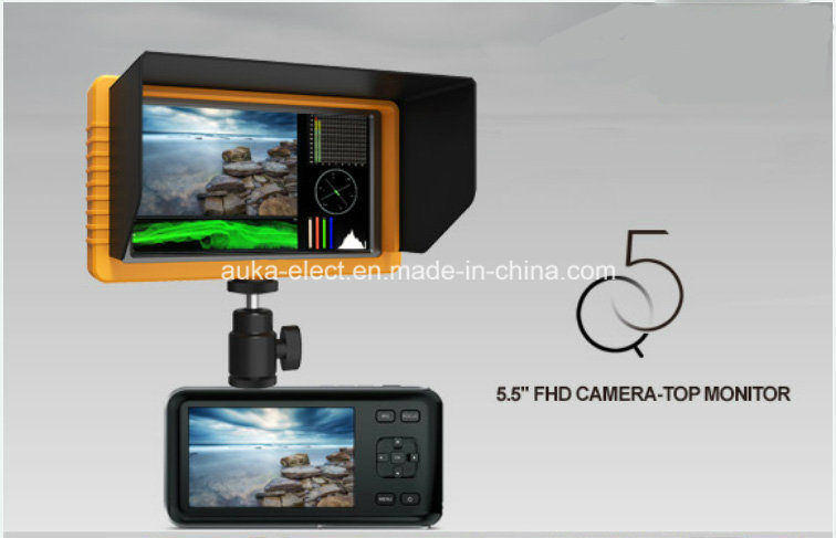 "5.5"" LCD Camera-Top Monitor with HDMI Input for Full HD Video Camera"