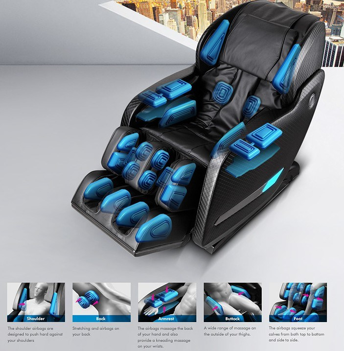 2016 Sexy New Deluxe L Shape 4D Full Body Massage Chair