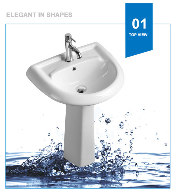 Weidansi Ceramic Wash Pedestal Basin Wash Sink (WDS-P7201)