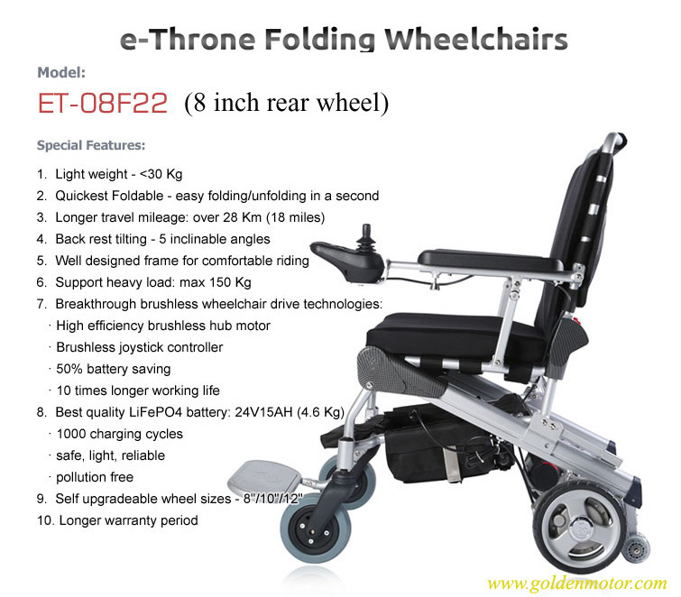 E-Throne Best Folding Electric Wheelchair for Disabled People 8′′, 10′′, 12′′ with Lithiun Battery Pack