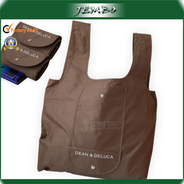 210d Polyester Reusable Pocket Folding Bag with Button