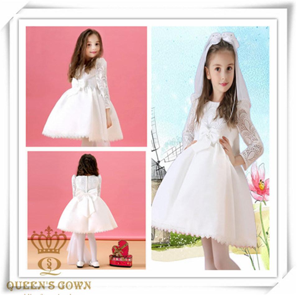 Long-Sleeved Bridal Flower Girl Dress, Factory Direct