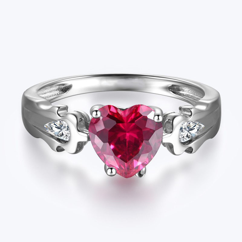 Fashion 925 Silver Ring with Heart Cut Red CZ