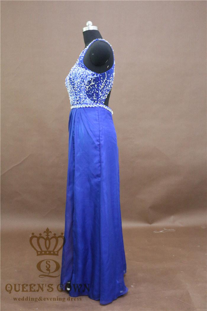 Stunning Round Neck Light Blue Prom Dress Heavily Beading Floor Length Formal Dress