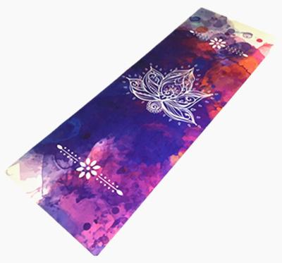 Custom Printed Microfiber Yoga Mat Eco Natural Rubber Foldable Machine Washable