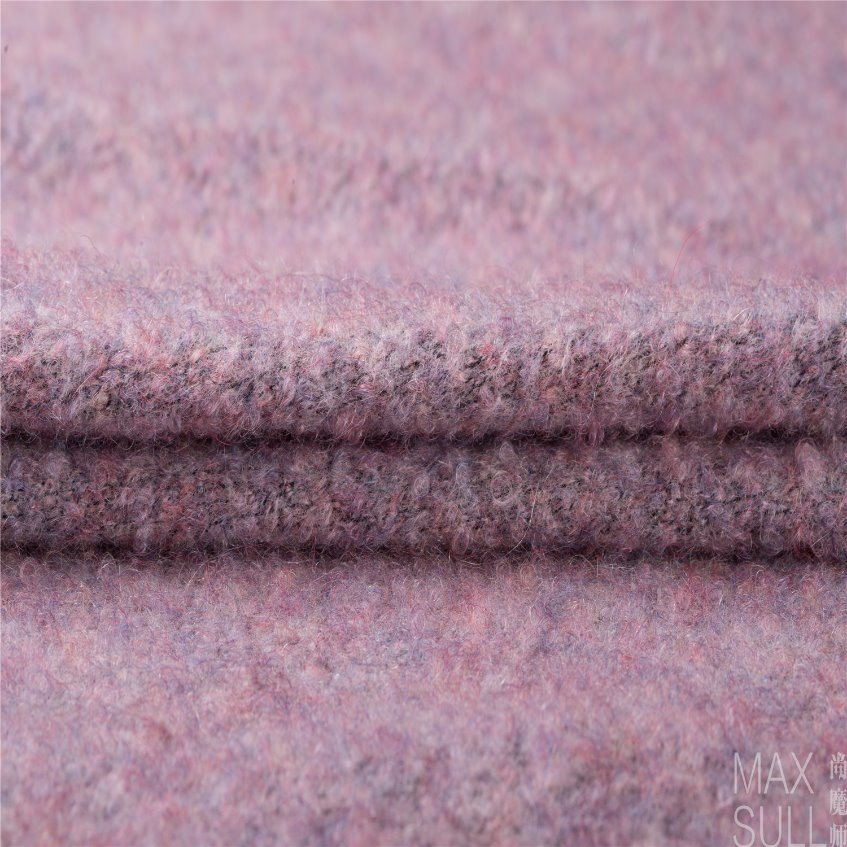Mohair/ Merino Mixed Wool Fabric for Winter in Pink