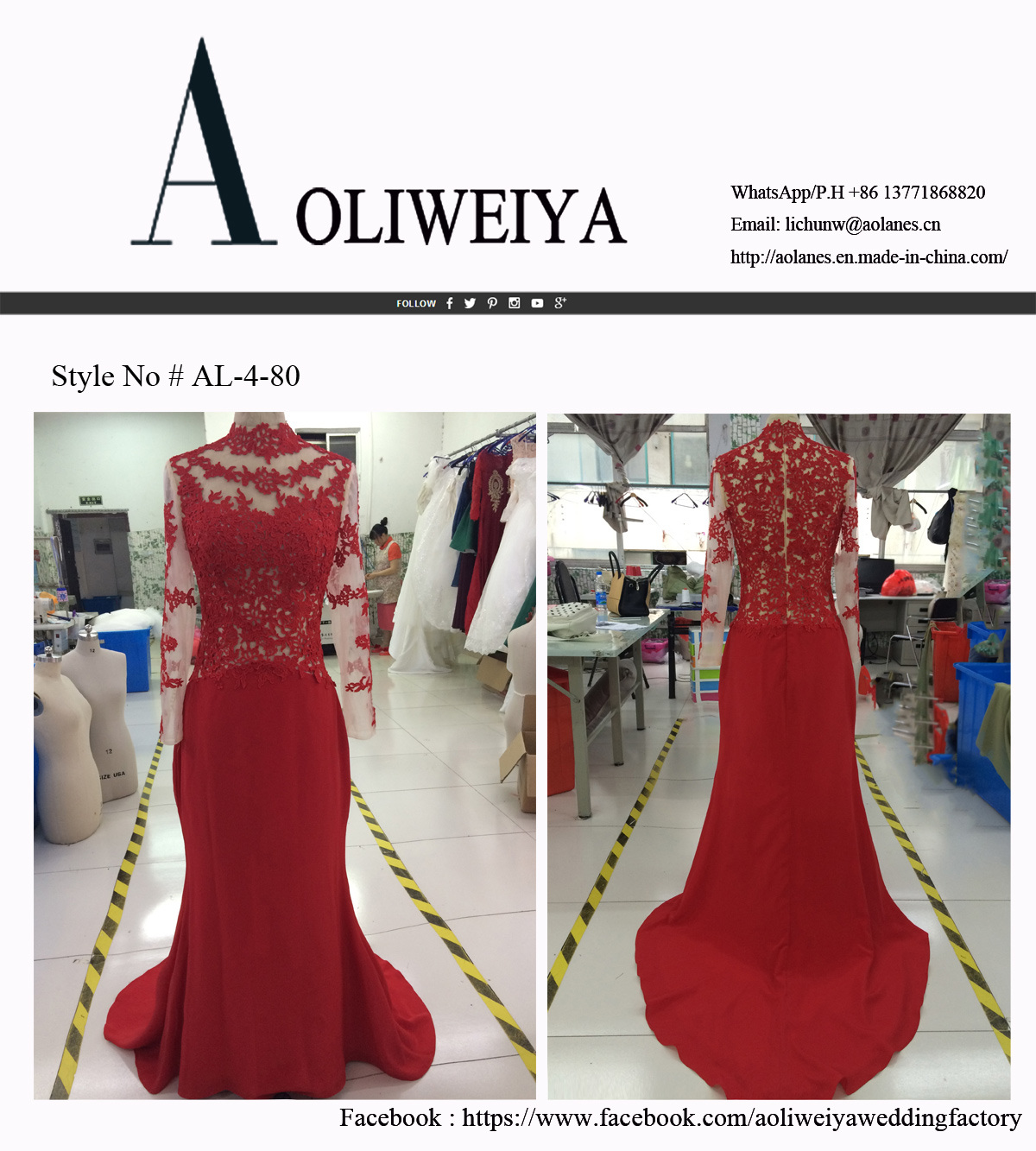 Aoliweiya Satin/Lace Ceremonial Clothing Evening Prom Dress