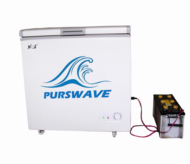 Purswave Bd/Bc-200 200L DC Solar Chest Freezer 12V24V48V Single Door Refrigerator DC Compressor Freezer Powered by Solar Panel and Battery -18degree