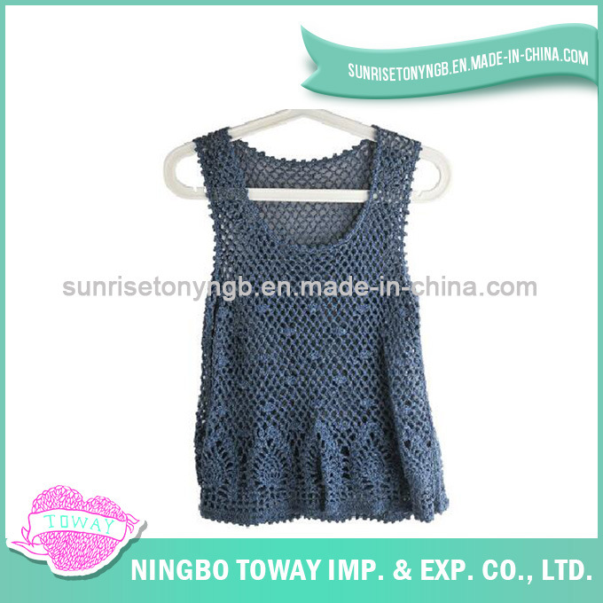 Hand Crochet Weaving Sweater Ladies Fashion Knitting Vest-02