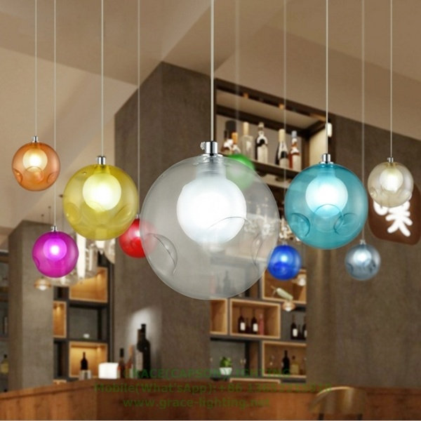 Single Multi Color Glass Pendant Lamp for Shop Decoration (GD-C001-1)