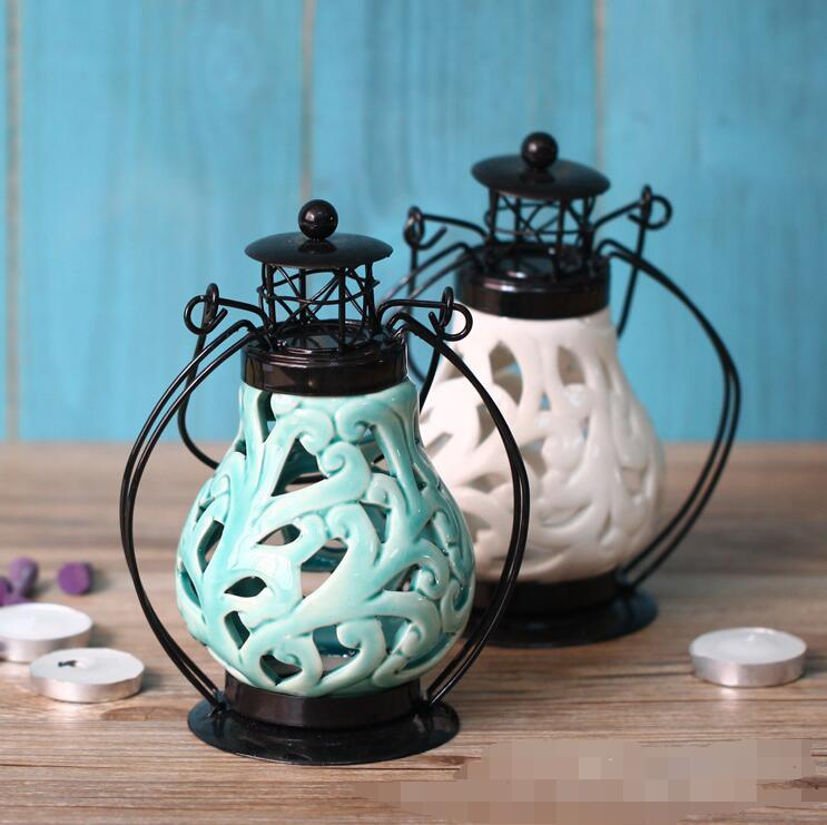 Unique Hollow out Design Ceramic Candle Holder with Lid
