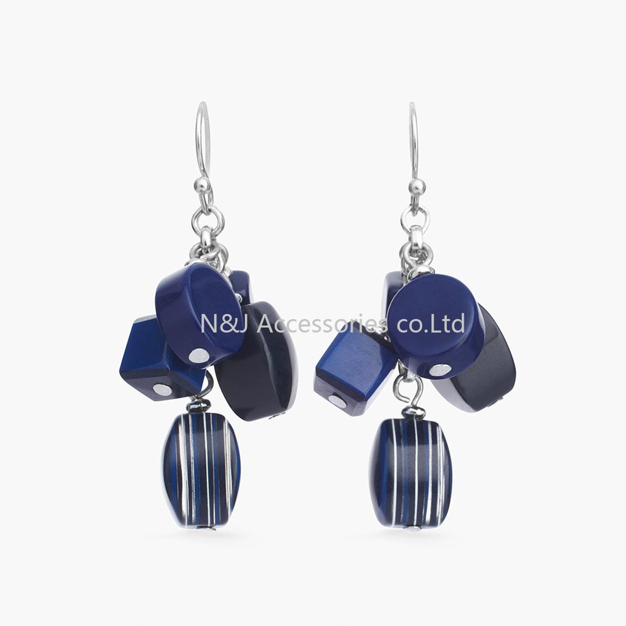 Women Vintage Hollow Drop Earrings Jewelry Antique Silver Acrylic Blue Beads Round Pendant Dangle Earrings