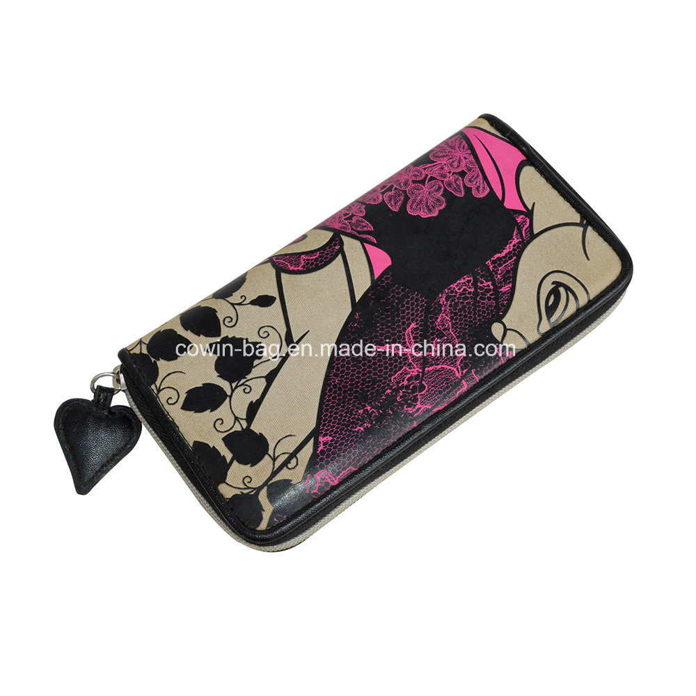 Custom Printed Zipper-Around Wallet Clutch Purse