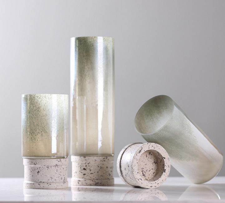 Glass Flower Vase with Pedestal