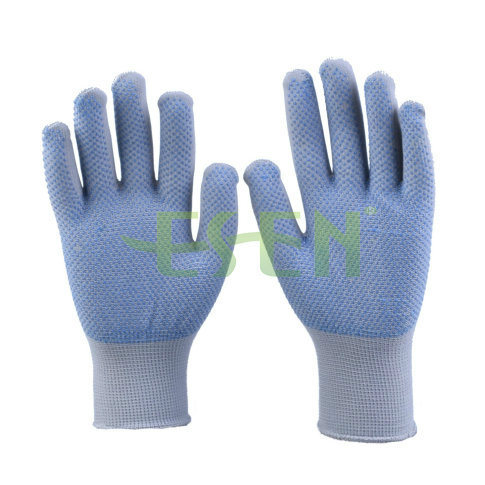 2017 Raw Cotton Glove with PVC Dots in Purple Color Work Gloves Knitted Cotton Gloves