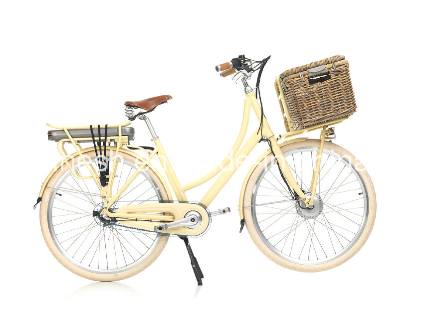 Vintage Lady Style 200W/250W/350W Electric Bicycle/Electric Bike/E Bike/Pedelec/E Bicycle W Front Basket Ce, En15194
