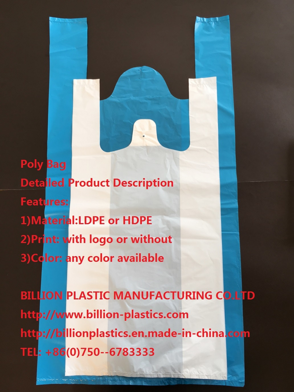 HDPE Plastic T-Shirt Bag Vest Bag Garbage Bag Rubbish Bag T-Shirt Bag Carrier Bag Shopping Bag Polybag Gusset Bag